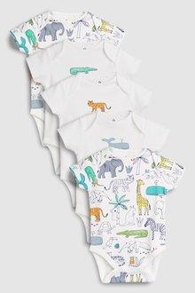 Next Safari Character Short Sleeve Bodysuits Five Pack (0mths-2yrs)