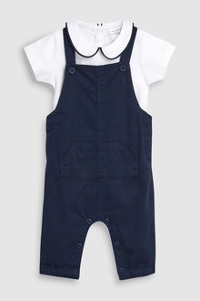 Next Dungarees And Collar Bodysuit set (0mths-2yrs)
