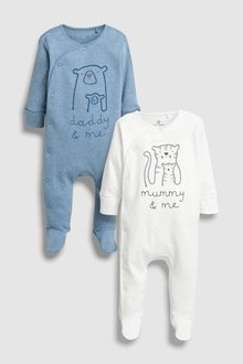 Next Mummy And Daddy Character Sleepsuits Two Pack (0mths-2yrs)