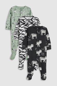 Next Animal Character Print Sleepsuits Three Pack (0mths-2yrs)