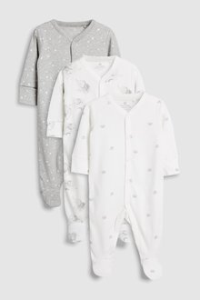 Next GOTS Certified Organic Cotton Watercolour Elephants Sleepsuits Three Pack (5-12mths)