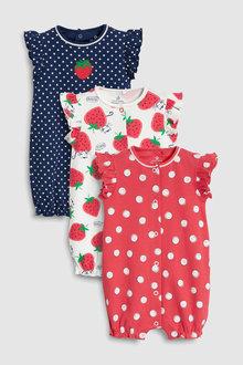 Next Strawberry Print Rompers Three Pack (0mths-2yrs)