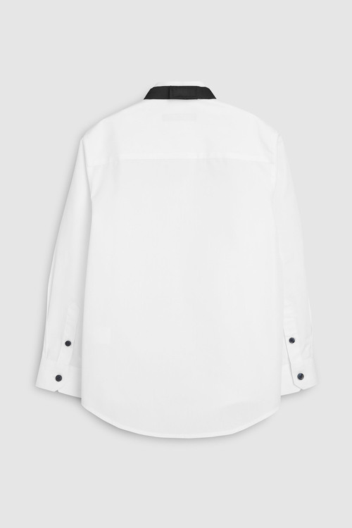 Next Long Sleeve Smart Wing Collar Shirt With Black Bow Tie (3-16yrs)