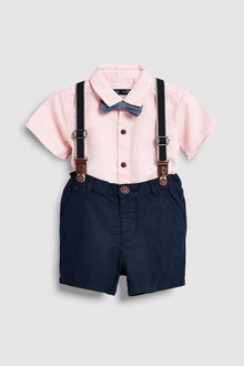 Next Shirt, Shorts, Bow Tie And Braces Set (3mths-7yrs)