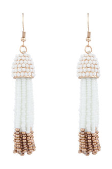 Amber Rose Seed Bead Tassel Drop Earrings