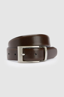 Next Reversible Leather Perforated And Plain Belt