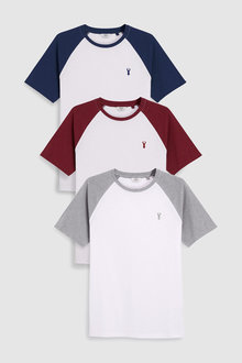 Next Colour Raglan T-Shirts Three Pack - 227670