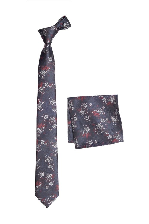 Next Jacquard Floral Tie And Pocket Square Set