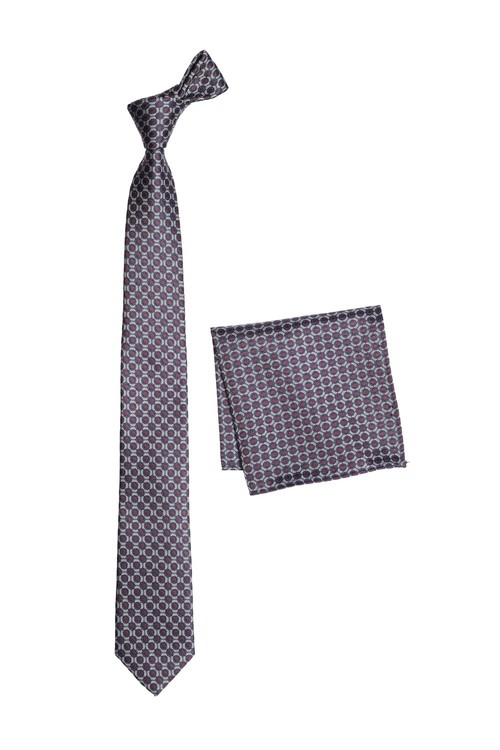 Next Geometric Tie And Pocket Square Set