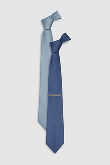 Next Textured Ties Two Pack Tie With Tie Clip - 227687