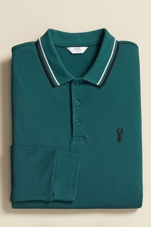 Next Long Sleeve Tipped Polo