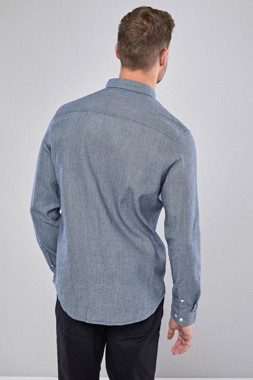 Next Chambray Twill Long Sleeve Shirt
