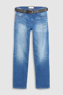 Next Belted Crosshatch Jeans-Loose Fit