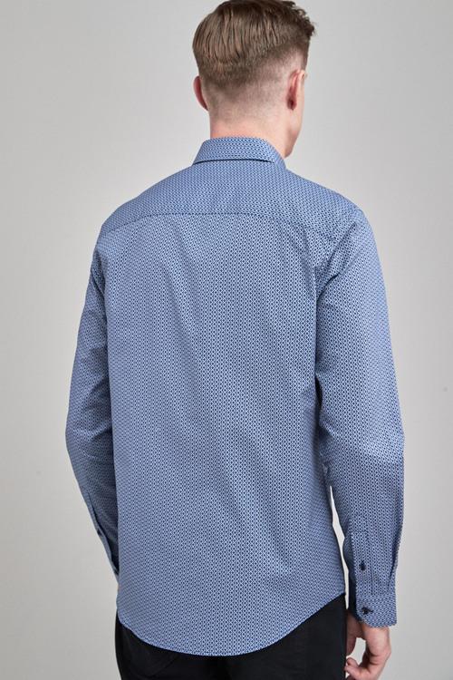 Next Double Collar Geo Print Long Sleeve Shirt