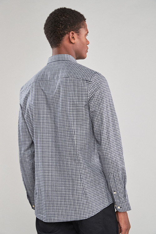 Next Smart Long Sleeve Grey Check Shirt