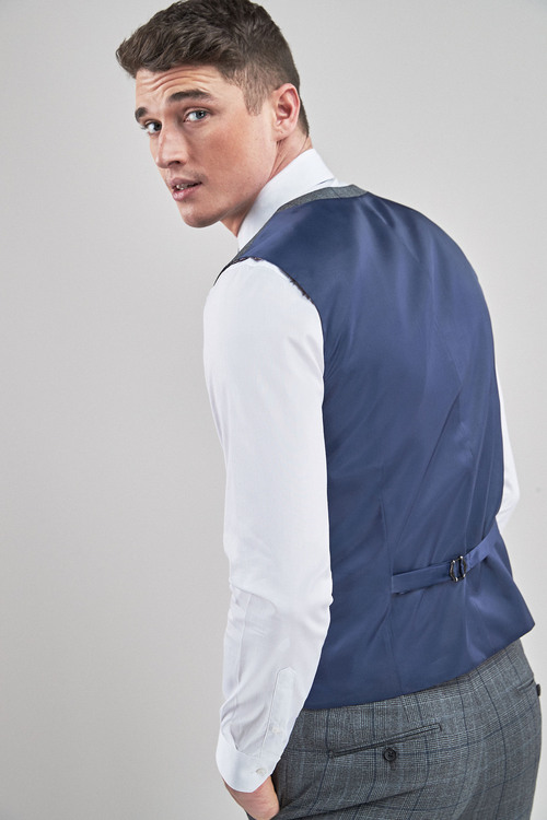 Next Tailored Fit Prince Of Wales Check Suit: Waistcoat