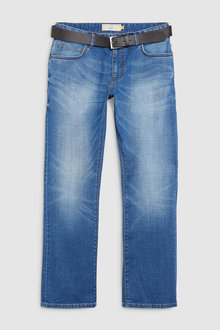 Next Belted Crosshatch Jeans-Bootcut Fit