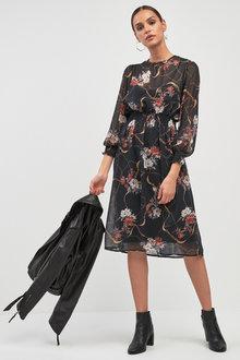 Next Print Sheer Midi Dress