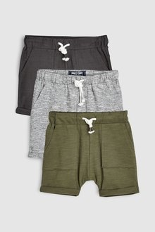 Next Lightweight Textured Shorts Three Pack (3mths-7yrs) - 228125