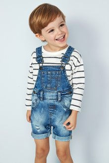 Next Denim Short Leg Dungarees (3mths-7yrs)