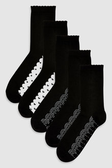 Next Lace Pattern Footbed Ankle Socks Five Pack