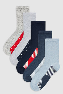 Next Heart Pattern Footbed Ankle Socks Five Pack