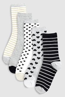 Next Metallic Sparkle Ankle Socks Five Pack