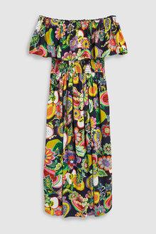 Next Floral Print Off Shoulder Dress-Tall
