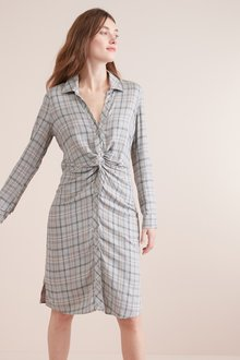 Next Check Twist Shirt Dress-Tall