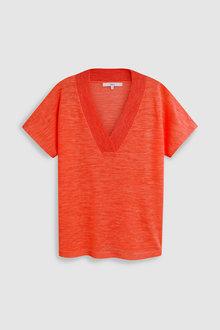 Next Linen Blend V-Neck Sweater - 228362