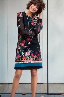 Next Floral Border Print Sheer Sleeve Dress