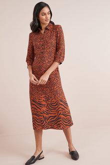 Next Animal Mix Print Midi Dress