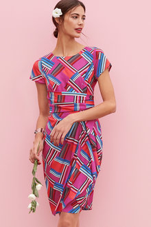 Heine Drape Detail Print Dress - 228537