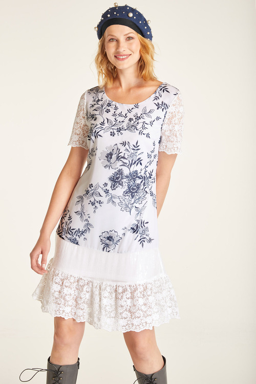 Heine Lace Detail Printed Dress
