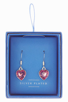 Next Plated Crystal Heart Earrings With Swarovski Crystals