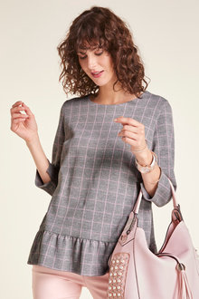 Heine Ruffle Hem Check Top - 228559