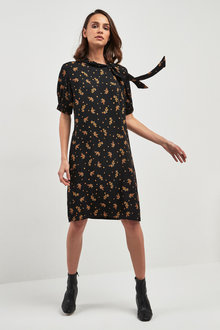 Next Floral Tie Neck Dress