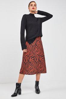 Next Zebra Print Midi Skirt