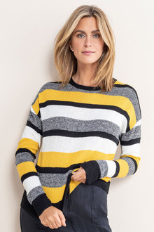 Capture Drop Shoulder Stripe Sweater