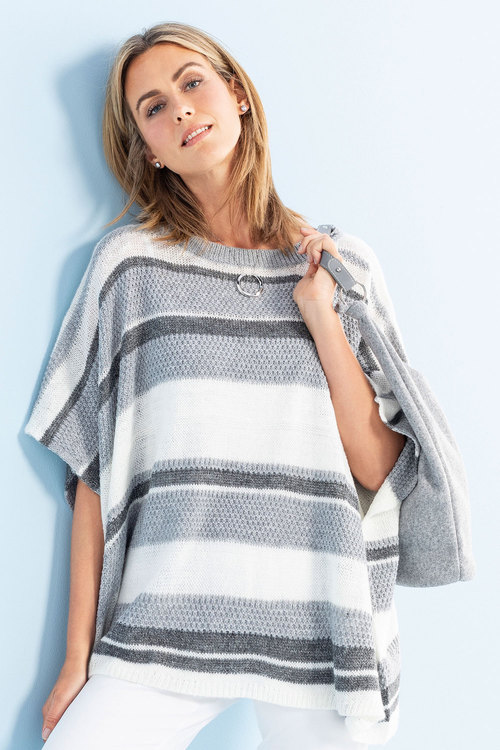 Capture Textured Stripe Poncho