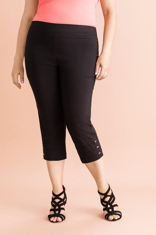 Plus Size - Sara Button Pleat Crop Pants