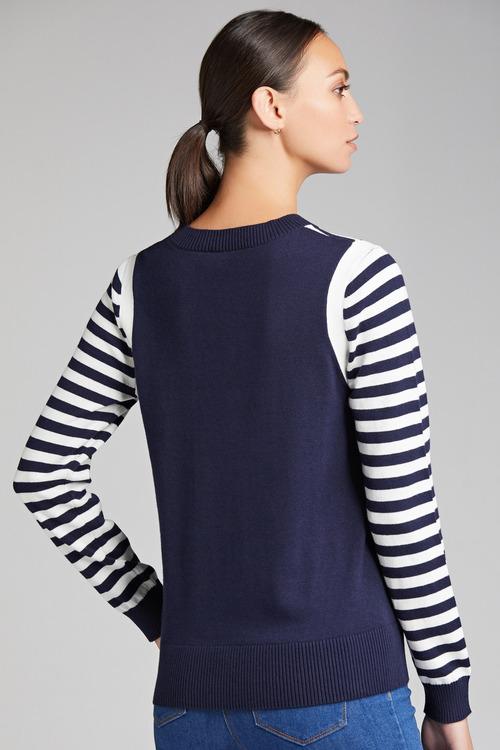 Grace Hill Cotton Cashmere Stripe Sweater