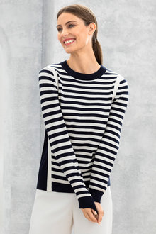 Grace Hill Cotton Cashmere Stripe Sweater