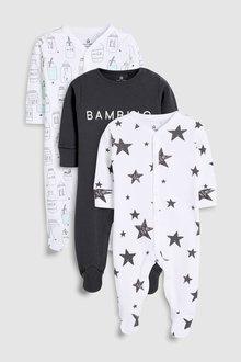 Next Milk Slogan Sleepsuits Three Pack (0mths-2yrs)