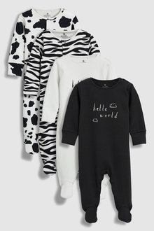 Next Animal Print/Slogan Sleepsuits Four Pack (0mths-2yrs)