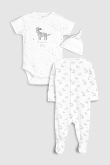 Next GOTS Certified Organic Cotton Zebra Three Piece Sleepsuit Set (5-6mths)