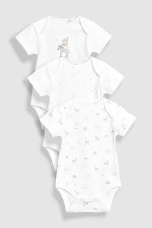 Next Delicate Animals Short Sleeve Bodysuits Three Pack (0-18mths)