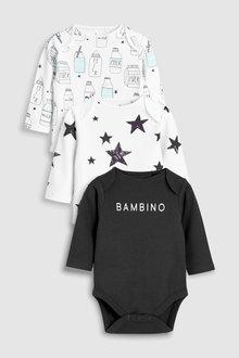 Next Milk Slogan Long Sleeve Bodysuits Three Pack (5-12mths)