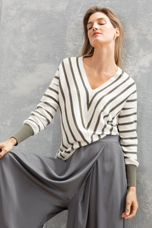 Grace Hill Cotton Cashmere Chevron Sweater