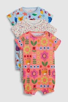 Next Floral And Animal Character Rompers Three Pack (0mths-2yrs)